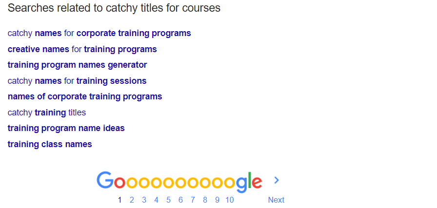Course Titles related Google searches example