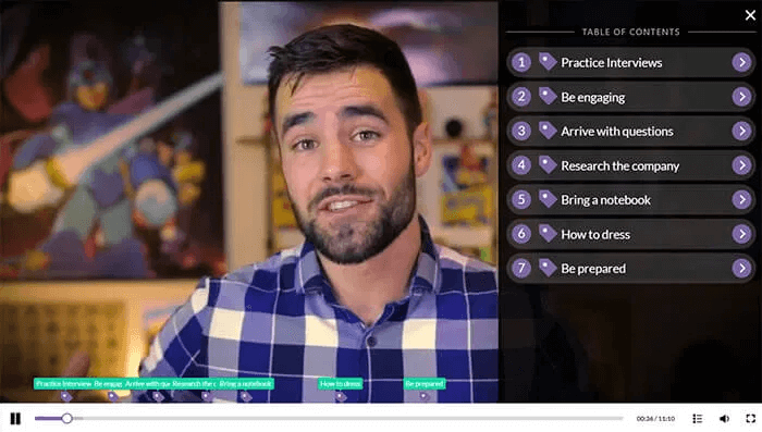 A table of contents in an interactive video